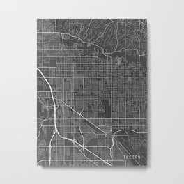 Tucson Map, Arizona USA - Charcoal Portrait Metal Print