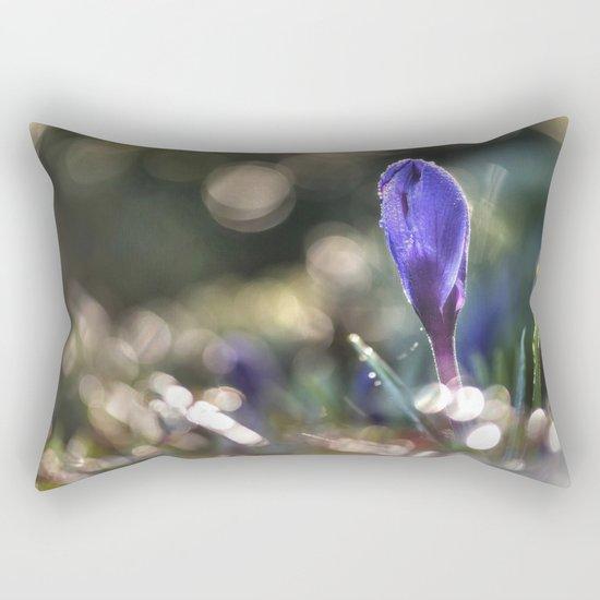 Blue Crocus at backlight- Flower Springflower Droplet Rectangular Pillow