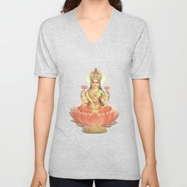 Lakshmi, Goddess of Love (Coral) Unisex V-Neck