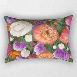 Sea of Flowers, Bright Floral Painting, Orange, Purple, White Flowers Rectangular Pillow