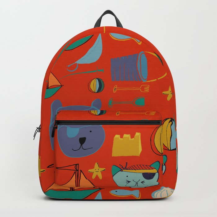 cat and bear pirate red Backpack