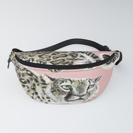 Snow Leopard in Pink Fanny Pack