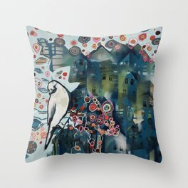 city bird Throw Pillow