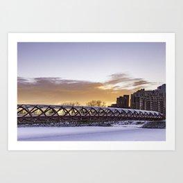 Calgary Peace Bridge at Sunrise Art Print