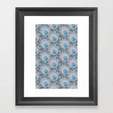 teal grey blossoms Framed Art Print