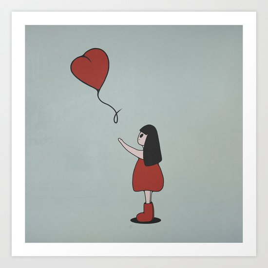 Girl with a Heart-Shaped Balloon Art Print