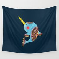 narwhal Wall Tapestries featuring The Narwhal by haidishabrina