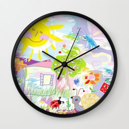 My happy world Doodle for children room Nursery home decor Wall Clock