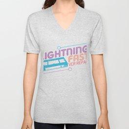 Lightning Fast VCR VHS Video Recorder Tapes Cassettte Classic Gift Unisex V-Neck