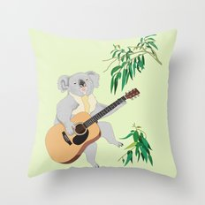 Koala Playing Guitar Throw Pillow