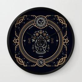 Virgo Zodiac Gold White on Black Background Wall Clock