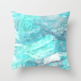 Marble Turquoise Blue Agate Throw Pillow