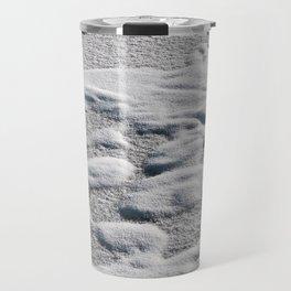 Textured snow abstract on frozen lake Travel Mug