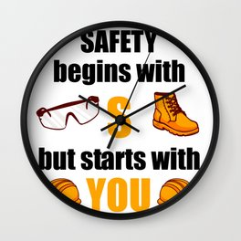 SAFETY STARTS WITH YOU Construction Site Gift Wall Clock