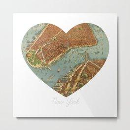 NYC Heart Map, New York Brooklyn Bridge, Vintage Map Wall Art, Travel, Fine Art Print Square Metal Print