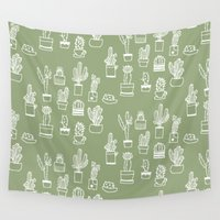 cactus Wall Tapestries featuring Cactus  by Chee Sim