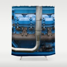 Blue Tractor Motor Shower Curtain