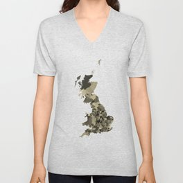 Great Britain Map Print Abstract in Camouflage Desert - A great talking piece for the home! Unisex V-Neck