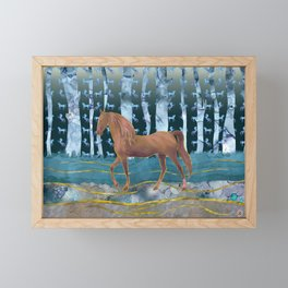 A Wild Horse in a Forest of Dreams Framed Mini Art Print