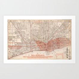 Vintage Railroad Map of Chicago (1871) Art Print