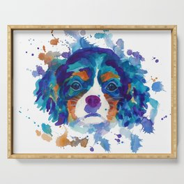 The cavalier king Charles Spaniel portrait in blue Serving Tray