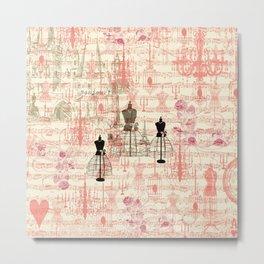 Vintage coral pink mannequin music note collage design Metal Print