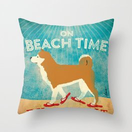 Beach Time Shiba Inu by Stephen Fowler Throw Pillow