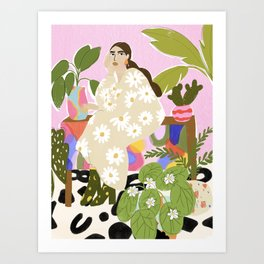 Hanging out with plants Art Print