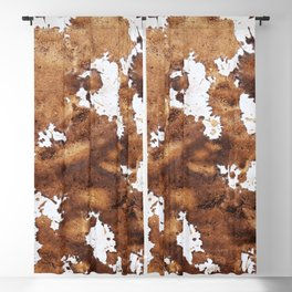 Dark brown aquarelle painting cowhide cow fur Blackout Curtain