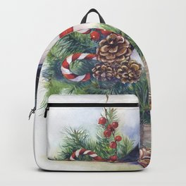 Watercolor Christmas snowman Backpack