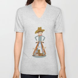 Cowboy in a lonely town Unisex V-Neck
