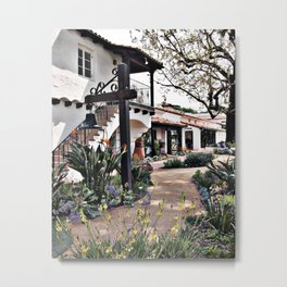 Laguna Beach County Water District Building with Bell in Front Garden Metal Print