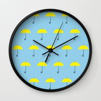himym Wall Clocks featuring HIMYM Yellow Umbrella by tralalavelling