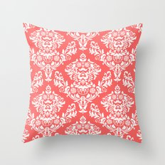 Coral Damask Throw Pillow