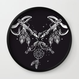 Two crossed tomahawks Wall Clock