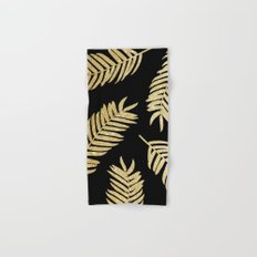 Gold Glitter Palms     Black Background Hand & Bath Towel