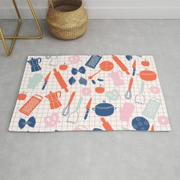Cute Kitchen Tools in pink red and blue Rug