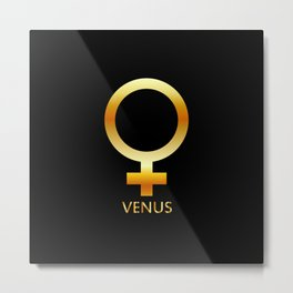 Zodiac and astrology symbol of the planet Venus in gold colors- astronomical icon Metal Print