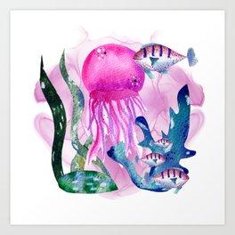 Pink watercolor jellyfish Art Print