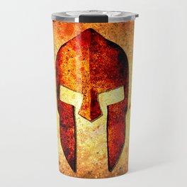 Spartan Helmet On Rust Background - Molon Labe Travel Mug