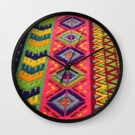 Colorful Guatemalan Alfombra Wall Clock