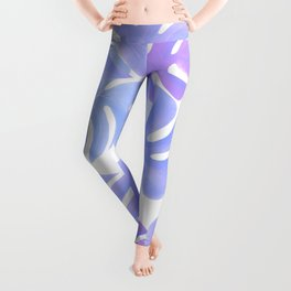 Soft Pastel Purple Watercolor Palm Leaves Leggings