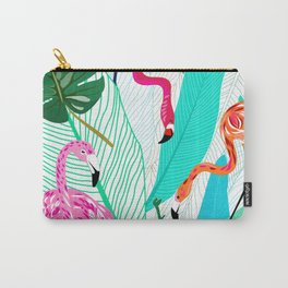 Tropical Flamingo Pattern Carry-All Pouch