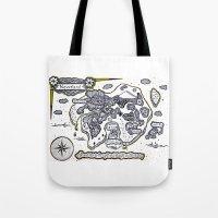 neverland Tote Bags featuring Neverland Illustration  by Mark Karwowski