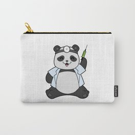 Funny panda as a doctor with a syringe Carry-All Pouch