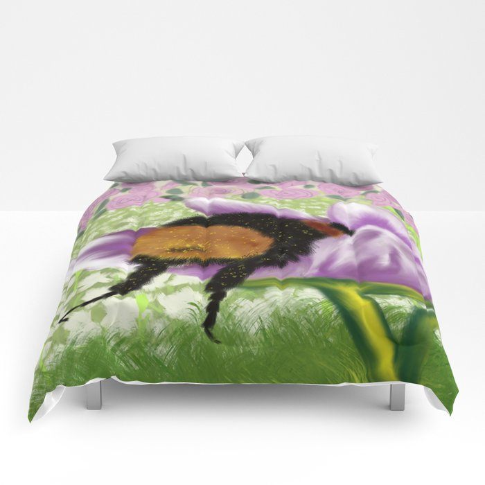Bee Butt In A Purple Tulip Comforters