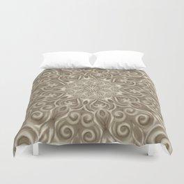 Beige swirl mandala Duvet Cover