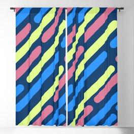Colorful Retro Stripes On Black Background Blackout Curtain