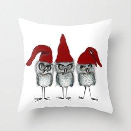 Christmas owls Throw Pillow