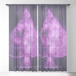 Spade symbol. Playing card. Abstract night sky background Sheer Curtain